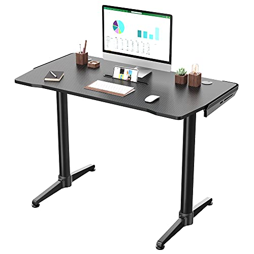 EUREKA ERGONOMIC 43 Inch Curved Gaming Desk with Cable Management System, Small Study Computer Desk with Mouse Pad for Home Office, Black