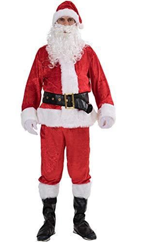 Loalirando Costume Père de Noël Adulte Ensemble Déguisement Père Noël Chapeau, Veste, Ceinture, Pantalon, Couvre-Bottes, Gant et Barbe - 3XL - Rouge