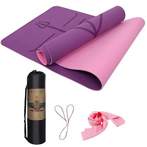 IYAQILEHE Esterilla Yoga TPE, Colchoneta Yoga Antideslizante Alfombrilla de Yoga con Líneas...