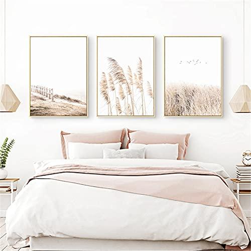 RAILONCH Beige Beach Poster Set, 3 Bilder. Stilvolle Home Deko für Schlafzimmer und Wohnzimmer - ohne Bilderrahmen (B,30 * 40CM)