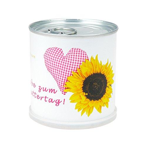 MacFlowers Muttertags Blumengrüße Herz - Dosenblume mit Sonnenblume - Alles Liebe zum Muttertag