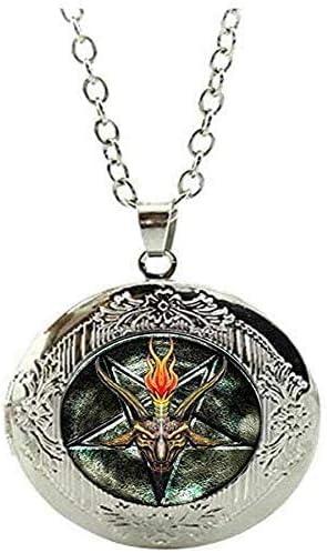 Vintage Pentagram Goat Head Locket Necklace Satanism Occult Jewelry Art Picture Jewelry