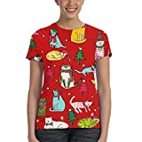 Cats Celebrating Christmas - Camiseta de manga corta para...