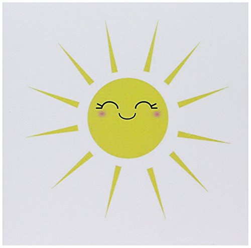 3dRose Smiling happy sun - cute kawaii yellow sunny smiley face - summery sunshine on white - Greeting Cards, 6 x 6 inches, set of 12 (gc_113063_2)