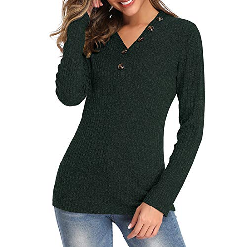 ZHUQI Women Top Women T-Shirt Casual Comfortable Elegant All-Match Sexy V-Neck Fashion Women Tops Fall New Soft Fabric Women Tops Suitable for Everyday Use E-Green(A) L