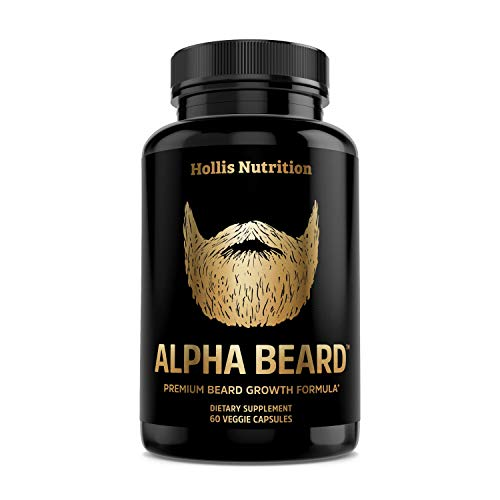 ALPHA BEARD Growth Vitamins   Biotin 10,000mcg, Patented OptiMSM, goMCT, Collagen   Beard and Hair Growth Supplement for Men   Grow Stronger, Thicker, Healthier Facial Hair - 60 Capsules