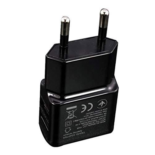 Cargador de teléfono móvil, 5V 1A Cargador de teléfono portátil con alimentación por USB Dual, Adaptador de Cargador a Juego Inteligente con Enchufe eléctrico para teléfono Inteligente - Negro