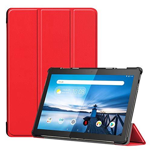 Lobwerk Tablet Hülle für Lenovo Tab M10 TB-X605F 10.1 Zoll Slim Hülle Etui mit Standfunktion & Auto Sleep/Wake Funktion Rot