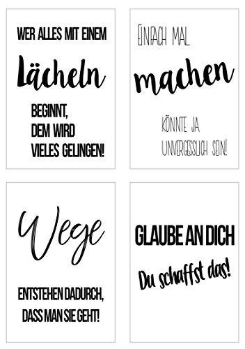 Edition Seidel Set 4 Premium Poster mit Sprüchen (Format DIN A4) ohne Rahmen Kunstdruck mit Zitaten (schwarz weiß). Bild Bilder Wandbild Wohnzimmer Schlafzimmer Küche (Motivation Set 2)