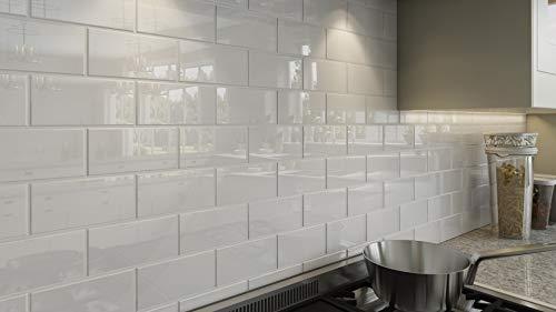 Giorbello Glass Subway Backsplash Tile, 3 x 6, Bright White