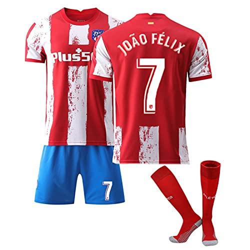 QHMWP Camiseta NiñOs Adultos, 2122 Atlético de Madrid Home Nº 7, Camiseta Partido Unisex Camiseta FúTbol para NiñOs, Entrenamiento Camiseta FúTbol, Camisetas FúTbol Vintage Camiseta