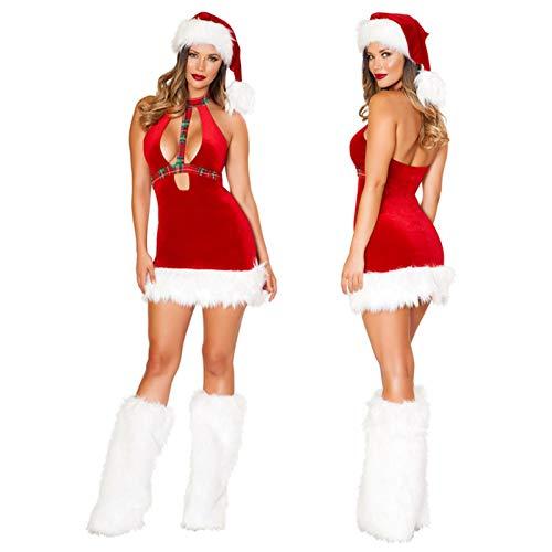 Hualieli Disfraz de Santa para Mujer de, Traje de Navidad Sexy para Mujer, Incluye Sombrero y Calentadores de piernas Peludos para la Fiesta de Navidad