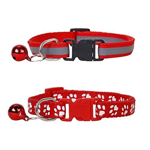 Lidiper 2 Piezas Collar Gato, Collar Reflectante Gatos Collares para Gatos con Cascabeles Ajustable 19-32cm Rojo