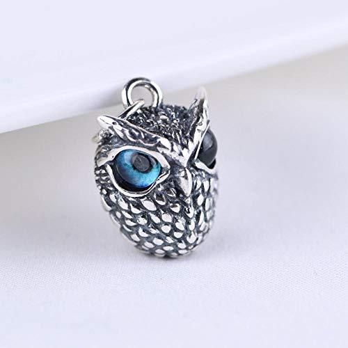 wnhnb Juego de anillo de plata de ley 925 con diseño de búho de ojo de demonio, colgante, pendientes de oreja, diseño retro de animal abierto, ajustable, plata de ley
