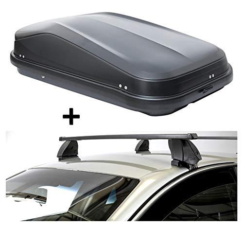 VDP dakkoffer JUEASY320 320 liter zwart glanzend afsluitbaar + imperiaal K1 MEDIUM compatibel met Peugeot 3008 (5-deurs) vanaf 16
