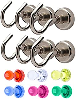 Maskeny Magnetic Hooks 40 lbs Heavy Duty Super Strong Neodymium Magnets for Kitchen Garage Indoor/Outdoor Organizing and Hanging - Large Cruise Ship Accessories [Bonus] Refrigerator Magnets