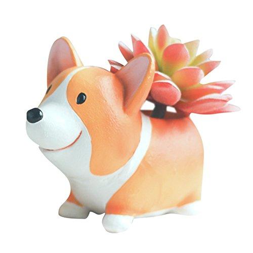 Corgi Flower Pot, Cute Plant Pots Animal Planter Cartoon Dog Shaped Container for Home Garden Office...
