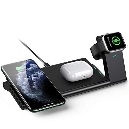 AGPTEK 3 En 1 Cargador Inalámbrico Rápido, Estación de Carga Rápida Qi Inalámbrica Soportes para iPhone SE 12 Pro/12 Pro Max/11/11 Pro, X/XR/XS Apple Watch Series 1/2/3/4/5 Airpods 2 ?