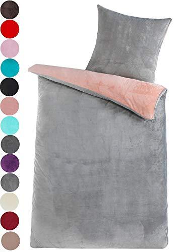 Dreamhome  Winter Wende Plüsch Bettwäsche Nicky-Teddy 'Cashmere Touch' 135x200 Coral Fleece, Farbe:Silber-ROSA