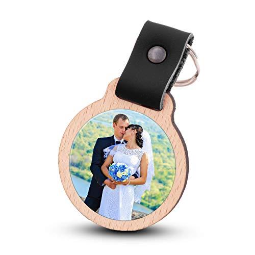 Wogenfels - Schlüsselanhänger selbst gestalten mit Fotodruck | Echtes Holz mit Lederband | kreative Geschenkidee Geschenk für Damen/Frauen (Schwarz)