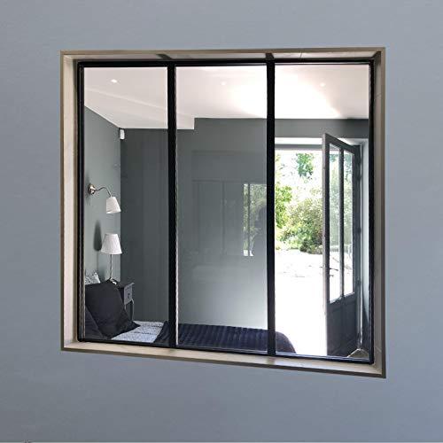 Verrière Aluminium, Finition Noir, Hauteur 115 cm Largeur 120 cm