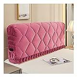HDGZ Funda para Cabecero De Cama para Dormitorio con Lado Elástico Y Bolsillo,protección Elástica Color Sólido Diseño Todo Incluido (Color : Pink, Size : 1.8m)