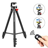 ZOMEI Phone and Ipad Tripod, Video Tripod for Cellphone,Travel Selfie Tripod for Samsung, Huawei,iPhone,Camera and Gopro with Bluetooth Remote Control Universal Smartphone iPad Stand