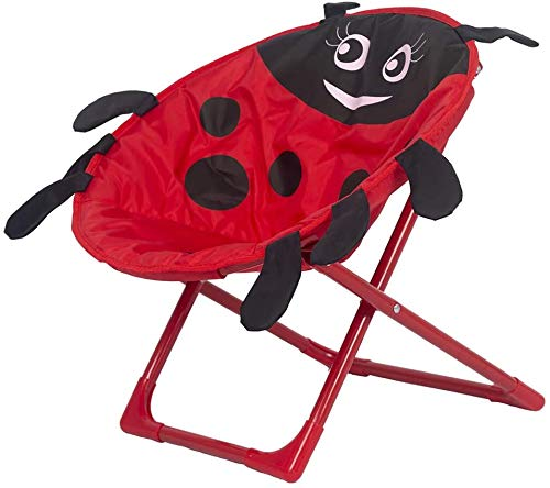 Silla de seguridad plegable de Ladybug de siete estrellas para niños, silla plegable de seguridad infantil, adecuado para uso en interiores y exteriores,Red