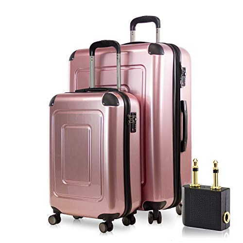 Happy Trolley - 2er Koffer-Set Trolley-Set Rollkoffer Hartschalen-Koffer Reisekoffer Lugano sehr leicht, TSA, (S+XL), Rosegold +Audio Adapter