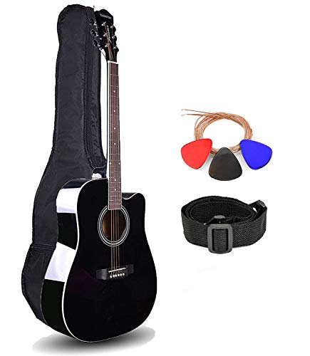 Kadence Frontier Series Acoustic Guitar with Truss Rod Jumbo 41 inch, Black, With Die Cast Keys Combo (Bag, 1 pack Strings, Strap and Picks)