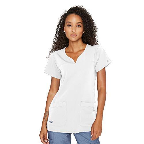 Grey's Anatomy Signature Women's Two Pocket Notch Yoke Neck Scrub Top, White, Medium