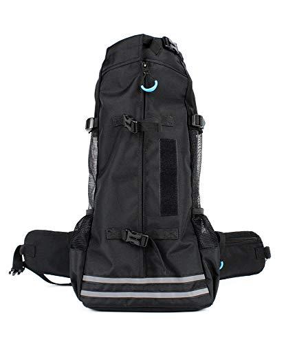 RC GearPro Mochila portadora de perros, mochila portadora de mascotas ajustable Bolsa de viaje Mochila mascota Patas hacia fuera (M (23x12x49cm), Negro)