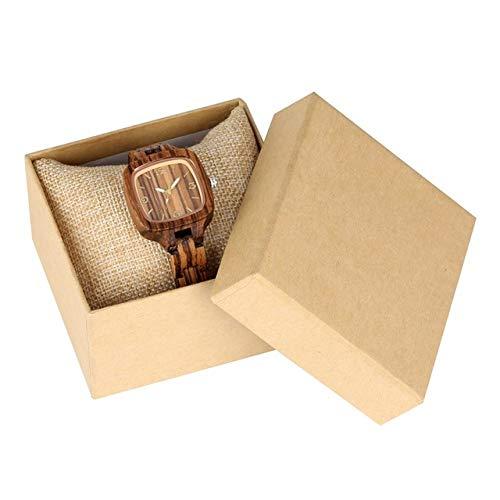WFE&QFN Reloj de Madera Minimalista Reloj Cuadrado Simple de Madera Reloj de Mujer Slim Light-Ultra Analog Full Bamboo Wooden Bangle Ladies Watches, Zebra con Caja