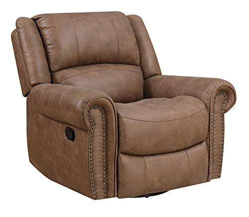 Madrona Burke Nova Brown Gliding Recliner with Swivel Glider, Nailhead Trim, and Pillow Back
