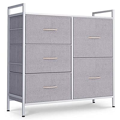 ODK Dresser with 5 Drawers, Fabric Storage Tower, Organizer Unit for Bedroom, Chest for Hallway, Closet. Steel Frame and Wood Top, Light Gray