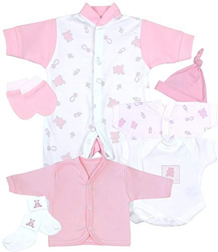 Babyprem Frühchen, kleine Frühgeborene Kleidung 7-teiliges Geschenkset ROSA 44-50cm