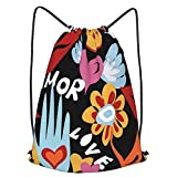 Mochila Con Cordones Unisex,Valentines Day Hipster 60s Seamless Pattern With Love Text Peace Sign And Hippie,Bolso con Cordón Impermeable para Nadar/Surfear/Viajar/Hacer Senderismo/Yoga/Deportes