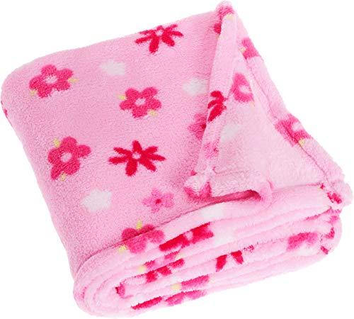 Playshoes Baby und Kinder Fleece-Decke, vielseitig nutzbare Kuscheldecke für Jungen und Mädchen, 75 x 100 cm, mit Blumen-Muster
