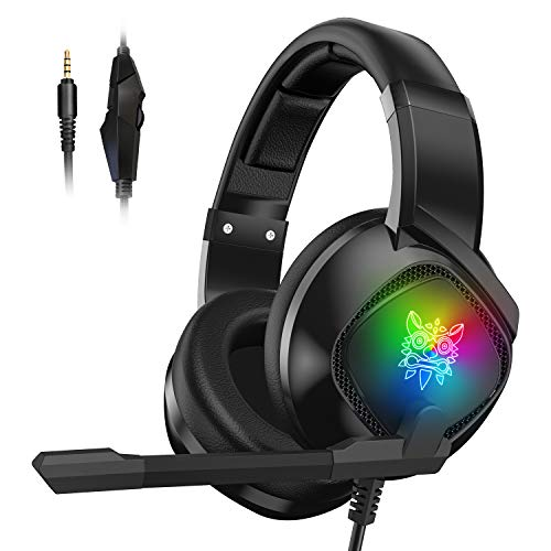 Gaming Headset für PS4, Xbox One and PC Kabelgebundenes Gaming Kopfhörer mit Noise Cancelling-Mikrofon, LED-Licht, Lautstärkeregler, Gaming Over-Ear Kopfhörer für Laptop,MAC, Nintendo Switch,Tablet