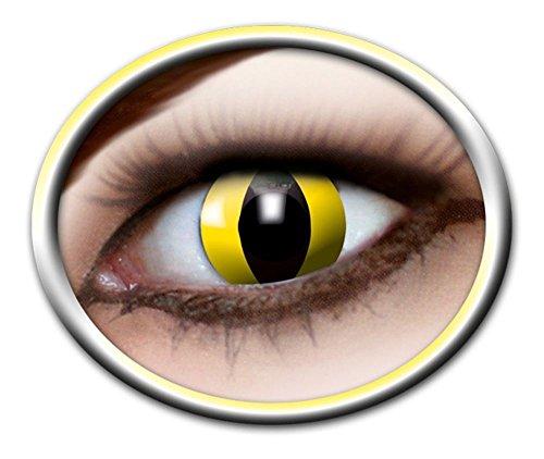 Zoelibat Eyecatcher Motivlinsen - Yellow Cat m04 - farbige 3-Monats-Kontaktlinsen - Gelbe Linsen zu Katzen Halloween Cosplay Kostümen