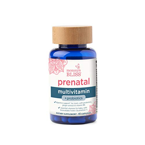 Mommy's Bliss - Prenatal Multivitamin + Probiotics - Women's Probiotic Supplement with Ginger Extract and Vitamin B6 for Digestive Support, with Essential Vitamins and Folate for Baby - 45 Capsules