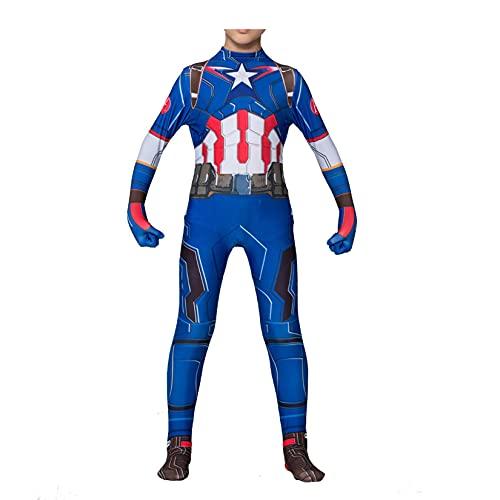 Traje de Capitán América Unisex Disfraz de Cosplay Niño Superhéroe Onesies Trajes de Fiesta temática Mono de Halloween Mascarada Medias Lycra Spandex Zentai,Blue-Kids/3XL/145cm~155cm