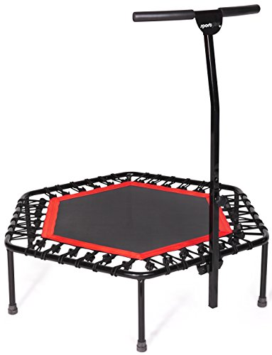 Sportplus Silent Fitness Mini Trampoline with Adjustable Handrail Bar – Indoor Rebounder for...