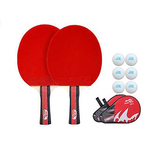 Best Bargain HUIJUNWENTI Table Tennis Racket, Double Shot 2 Sticks Suitable for Beginners Table Tennis Racket, Horizontal Shot, Pen-Hold Family Entertainment Racket Set (Send 6 Balls + 1 Set)
