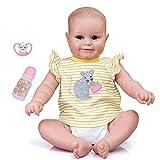 6Wcveuebuc Muñeca realista de silicona de 49 cm con ojos abiertos de vinilo suave bebé lindo juguete...