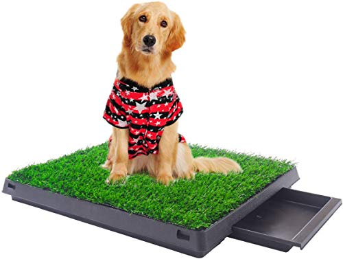"""Sandinrayli Indoor Outdoor Dog Puppy Potty Trainer Pad Grass Toilet Mat Tray Restroom for Small Cats and Dogs 25""""x20"""""""