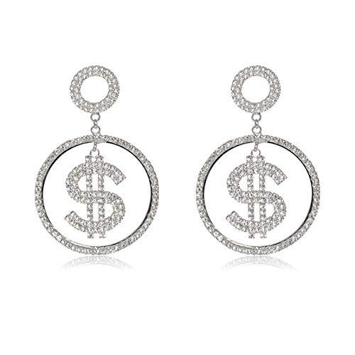 Multa Pendientes Largos exagerados con Diamantes de imitación, para Mujeres y Chicas Fiesta de Boda Joyas Brillantes Pendientes Colgantes para Mujeres niñas (Metal Color : S)