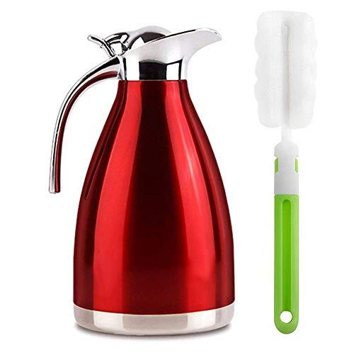 HSTYAIG Edelstahl Thermoskanne, Teekanne, Kaffeekanne, und Isolierkanne mit 18 Stunden Wärmespeicherung – doppelwandige Vakuum Tee und Kaffee Thermokanne Isolier Kanne (1L Rot)