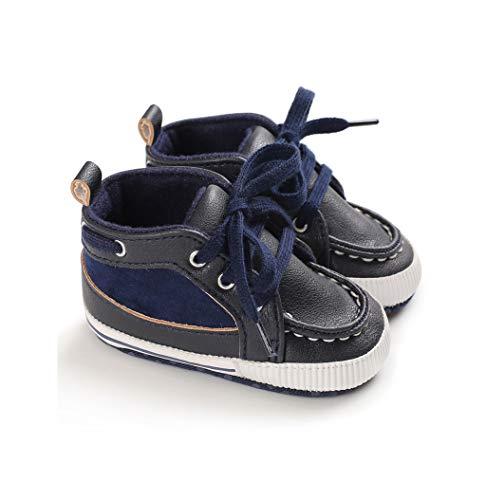 Geagodelia Scarpe da passeggio casual per neonato suola in morbida suola in cuoio per bambina (Blu, 3(13CM))