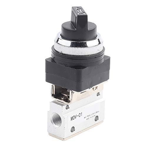 LANTRO JS - Válvula mecánica de aire, 1 pieza MOV-01 Válvula mecánica neumática de control manual G1/8 de 2 posiciones y 2 vías con interruptor de perilla de plástico negro